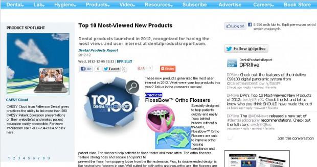 TOP 10 najczęściej oglądanych produktów w serwisie Dental Product Report