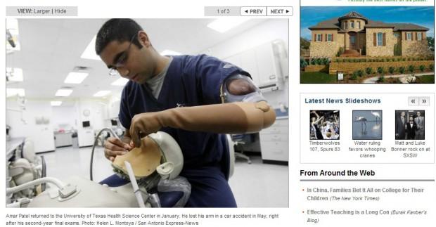 Jednoręki student walczy o to by być dentystą (fot.mysanantonio.com)
