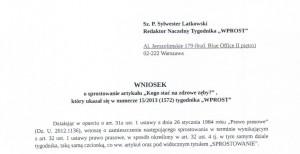 Andrzej Dulian chce sprostowania od Wprost