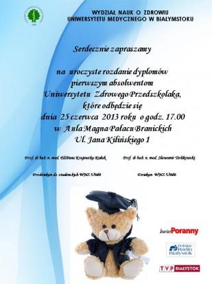 Uniwersytet Zdrowego Przedzkolaka rozdaje dyplomy (źródło: UMB)