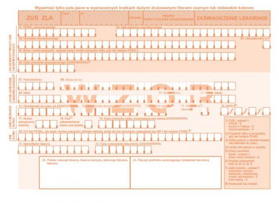 Nowe formularze zaświadczenia ZUS ZLA