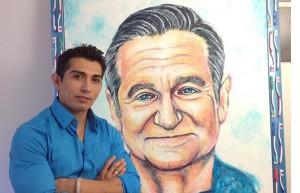 Robin Williams malowany pastą do zębów na licytację