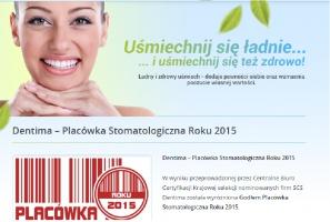 SCS Dentima z Godłem Placówka Stomatologiczna roku 2015.
