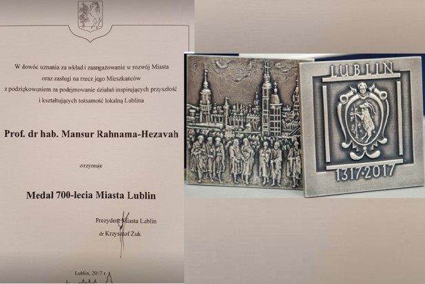 Prof. Mansur Rahnama wyróżniony medalem 700-lecia Miasta Lublin