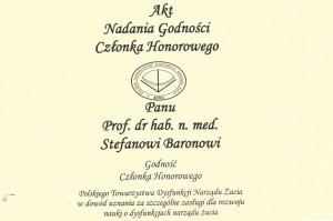 Prof. Stefan Baron Członkiem Honorowym  Polskiego Towarzystwa Dysfunkcji Narządu Żucia