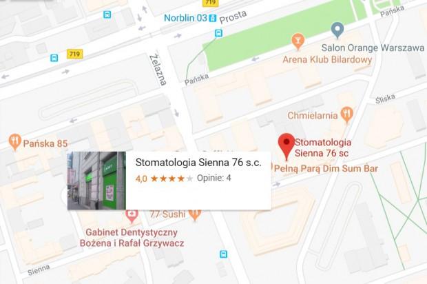 Lokalizacja gabinetu stomatologicznego za dobrze wyceniana