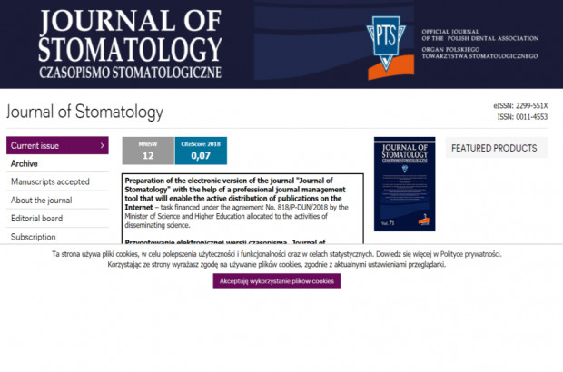 "Co w środku ""Journal of Stomatology"""