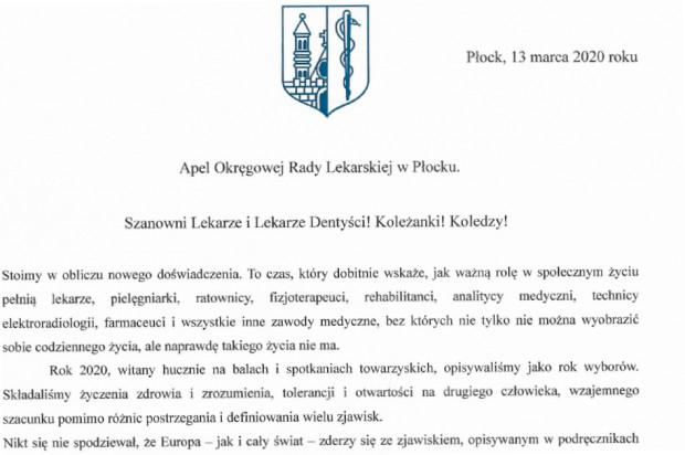 Koronawirus: pełen emocji apel Okręgowej Rady Lekarskiej w Płocku
