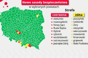 MZ podaje listę powiatów tzw. czerwonych i żółtych