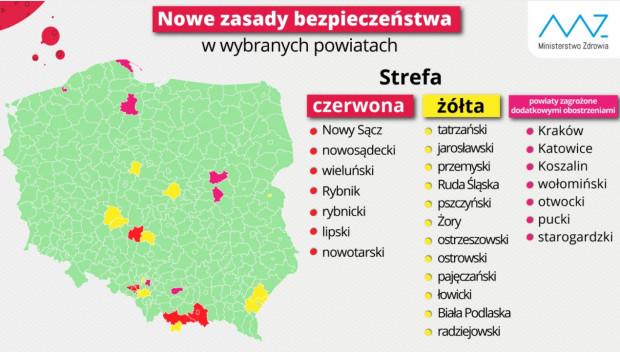 Ministerstwo Zdrowia: nowy podział na powiaty tzw. żółte i czerwone