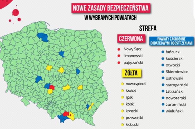 Nowe strefy czerwone i żółte ogłoszone 4 września