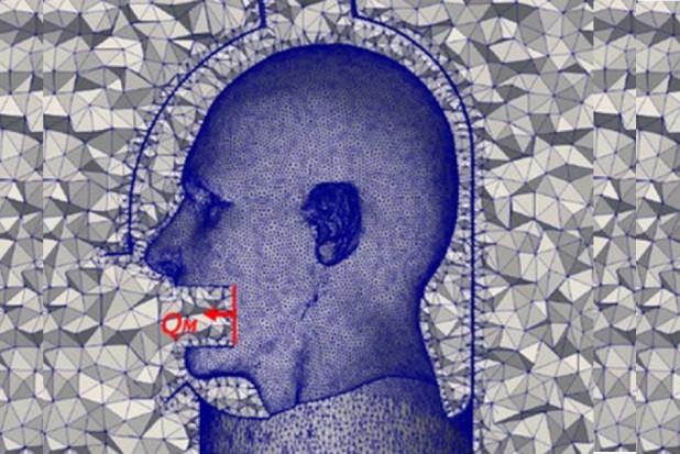 Pacjent u dentysty z hełmem na głowie